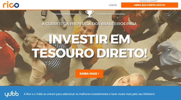 Página de investimentos no Tesouro Direto da corretora Rico