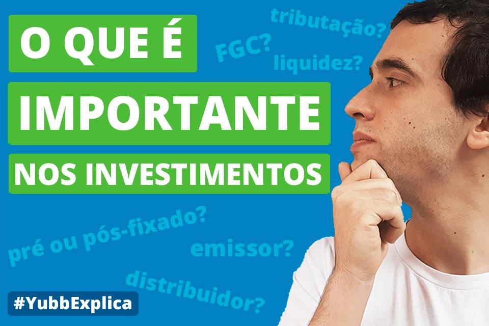 características dos investimentos
